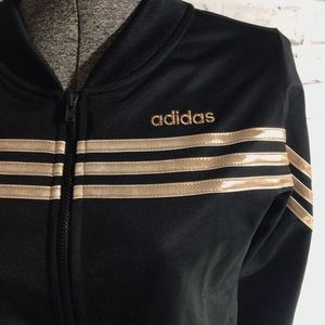NWOT rose gold striped retro adidas full zip